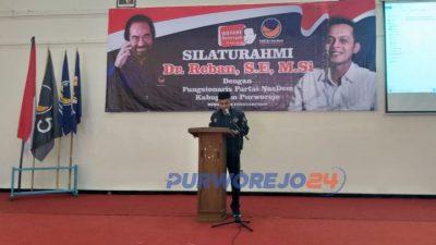 Ketua DPP Partai Nadem Purworejo Eko Januar saat menyampaikan orasi politik