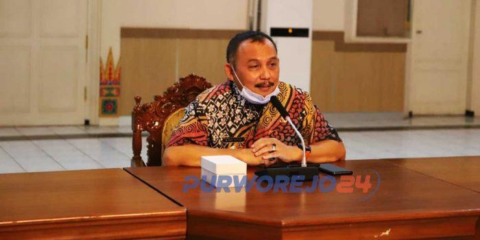 Bupati Purworejo, Agus Bastian saat Konferensi Pers terkait-Pandemi Covid-19