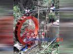 Kincir air yang dibuat warga untuk mengatasi kesulitan air bersih di Desa Bleber Kecamatan Bener.