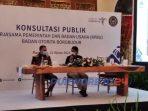 Menparekraf Sandiaga Uno dan Bupati Purworejo Agus Bastian saat Konsultasi Publik Kerjamasa Pemerintah dan Badan Usaha (KBPU) Badan Otorita Borobudur di Magelang,